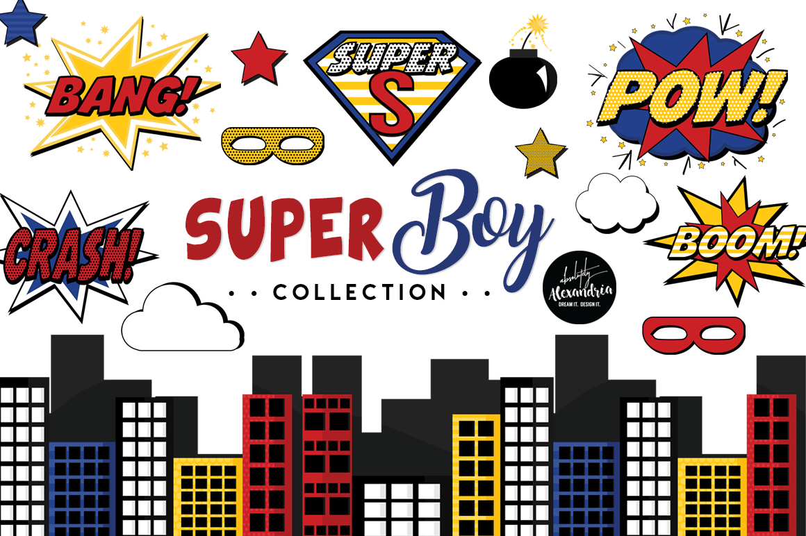 Super Boy Clipart Graphics & Digital Paper Patterns Bundle example image 1
