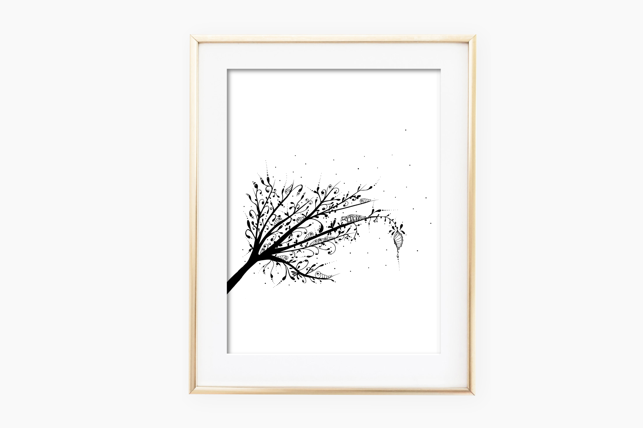 Larva Tree Ink Art, A1, SVG example image 2