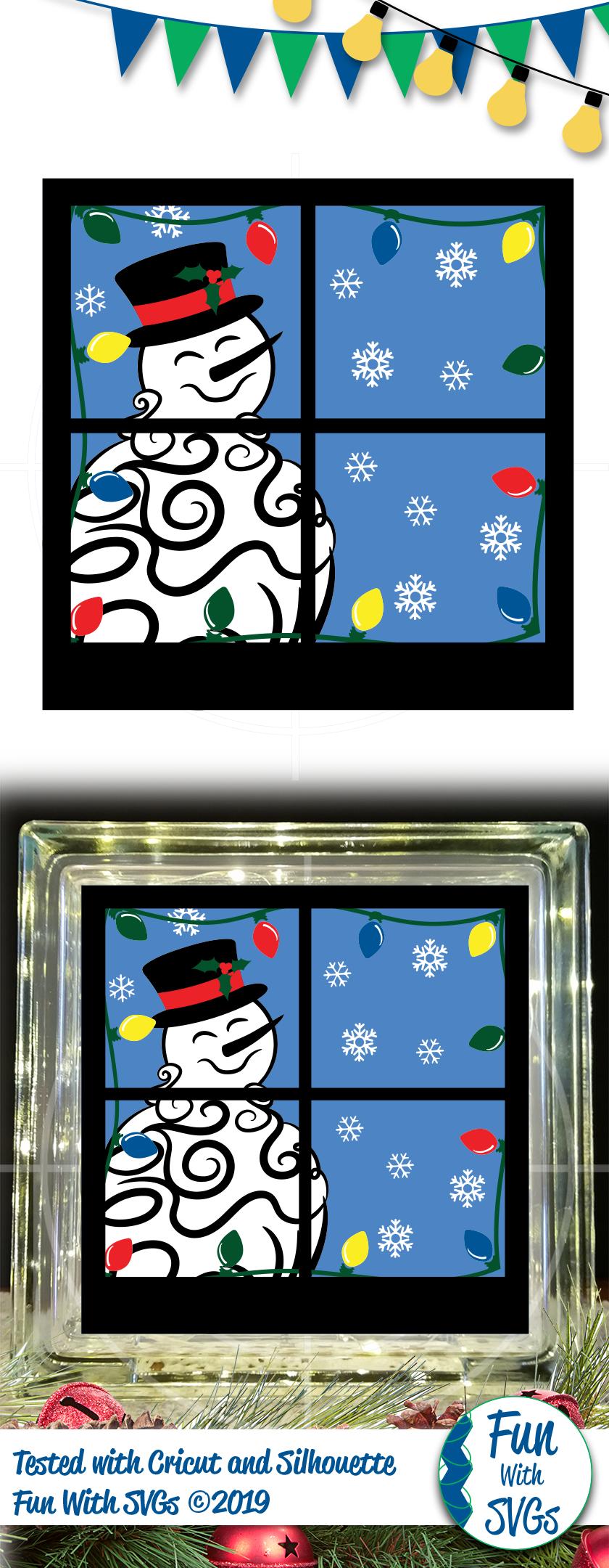 SVG Snowman Glass Block Vector, Cut File, Clip Art FWS458 example image 2