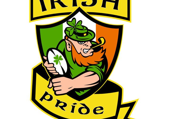 Irish leprechaun rugby player shield Ireland example image 1