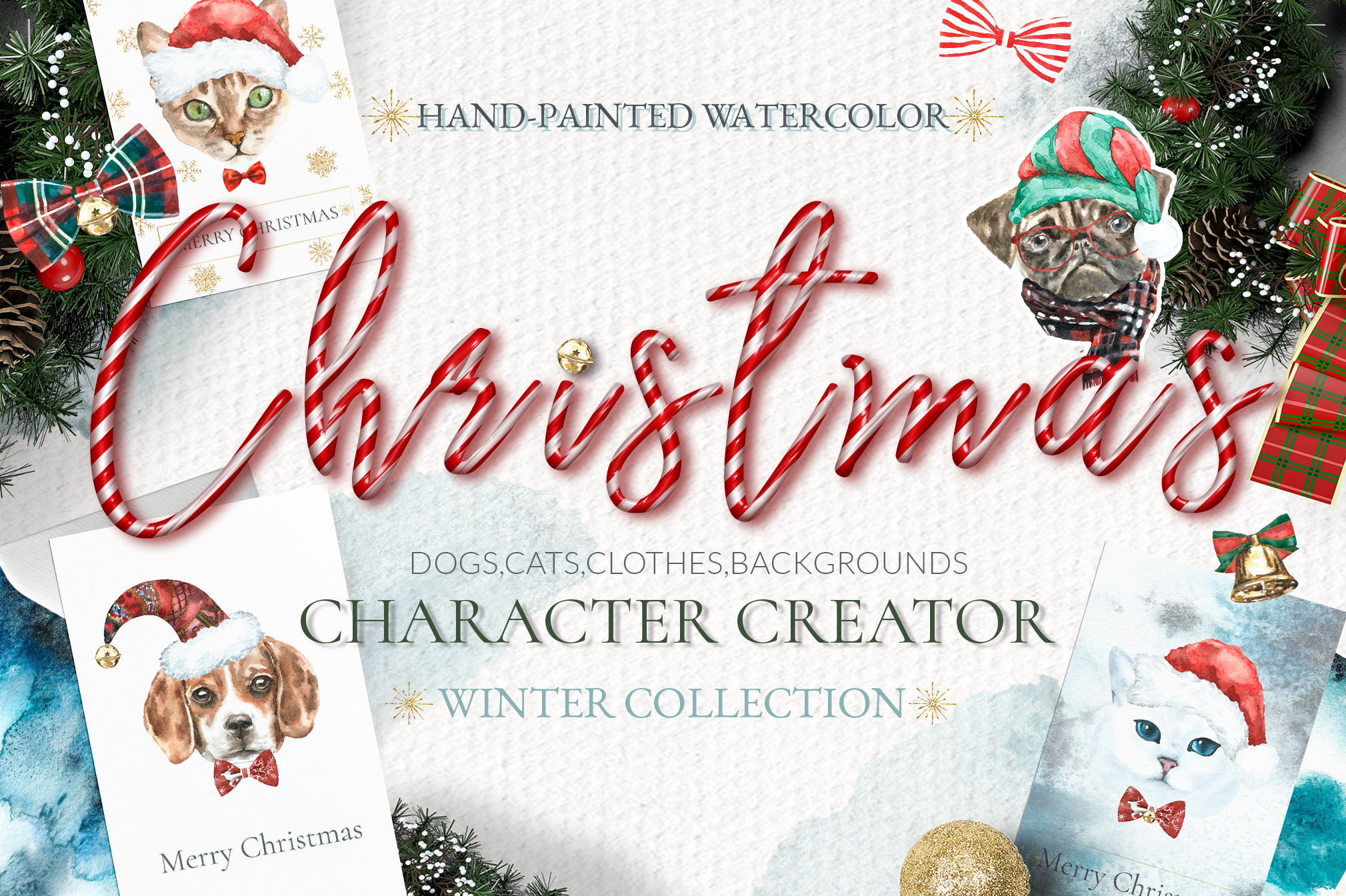 Christmas Animal Creator.Watercolor Dogs & Cats example image 1