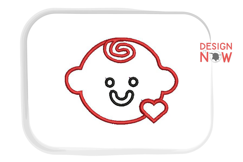 Baby Face Applique Embroidery Design, Heart Applique example image 2