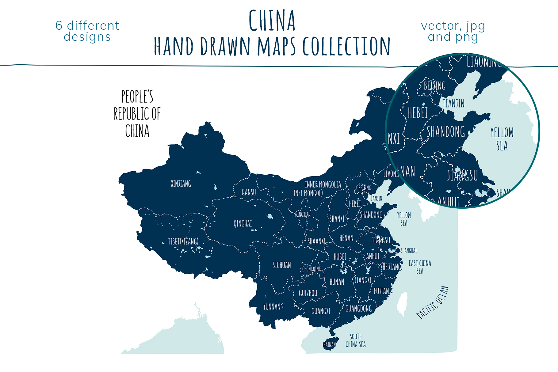 Maps of China. Hand drawn collection example image 7