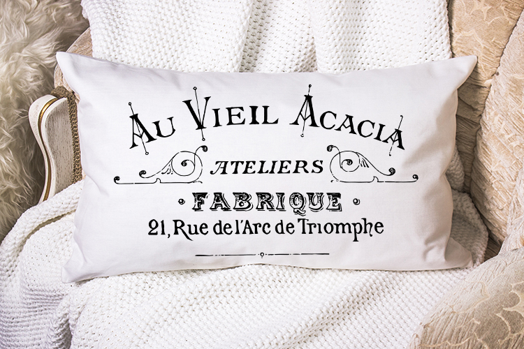 Vintage French Label printable transfer furniture pillow art example image 2