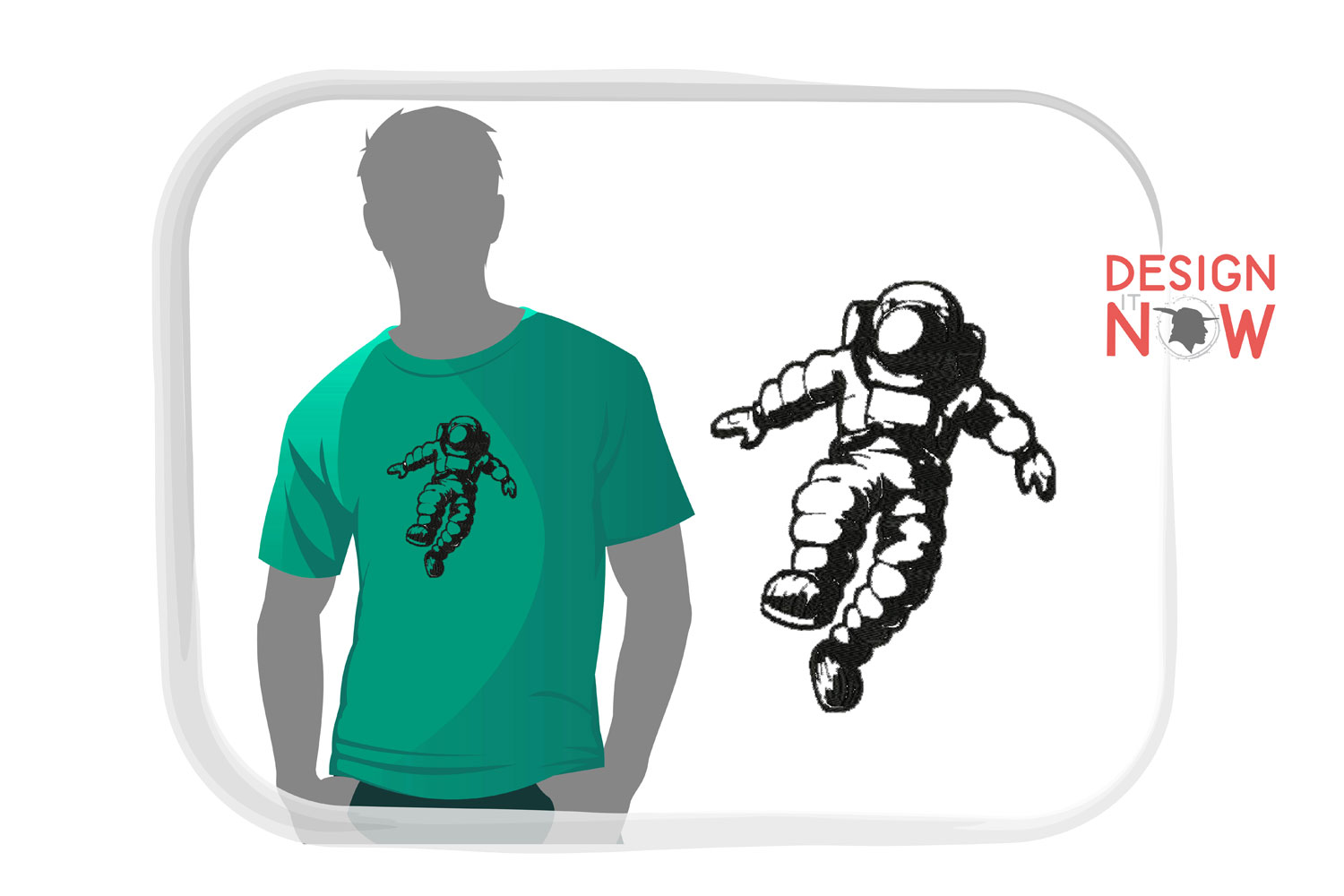 Astronaut Embroidery Design, Spaceship Embroidery Pattern example image 1