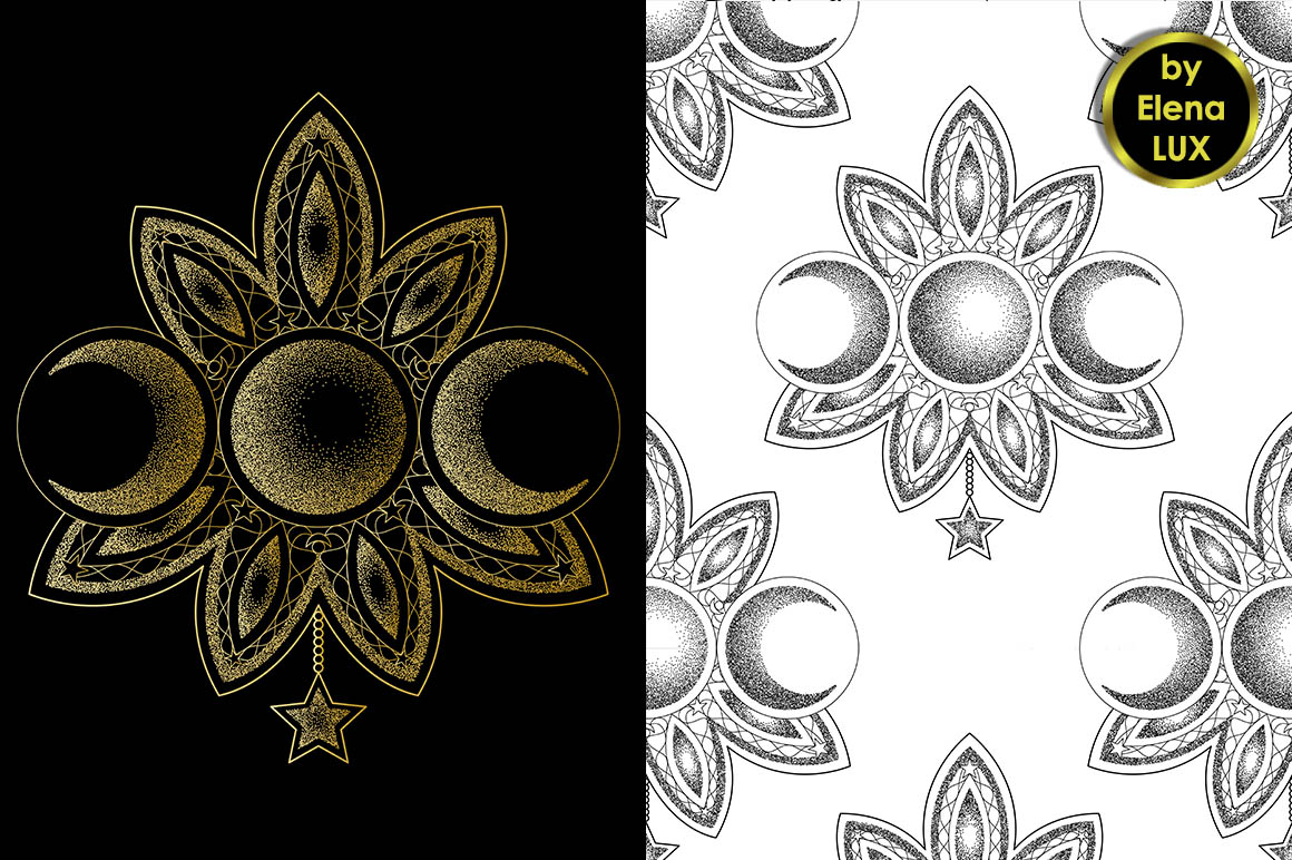 Triple Moon Dotwork Tattoo and Seamless Patterns example image 2