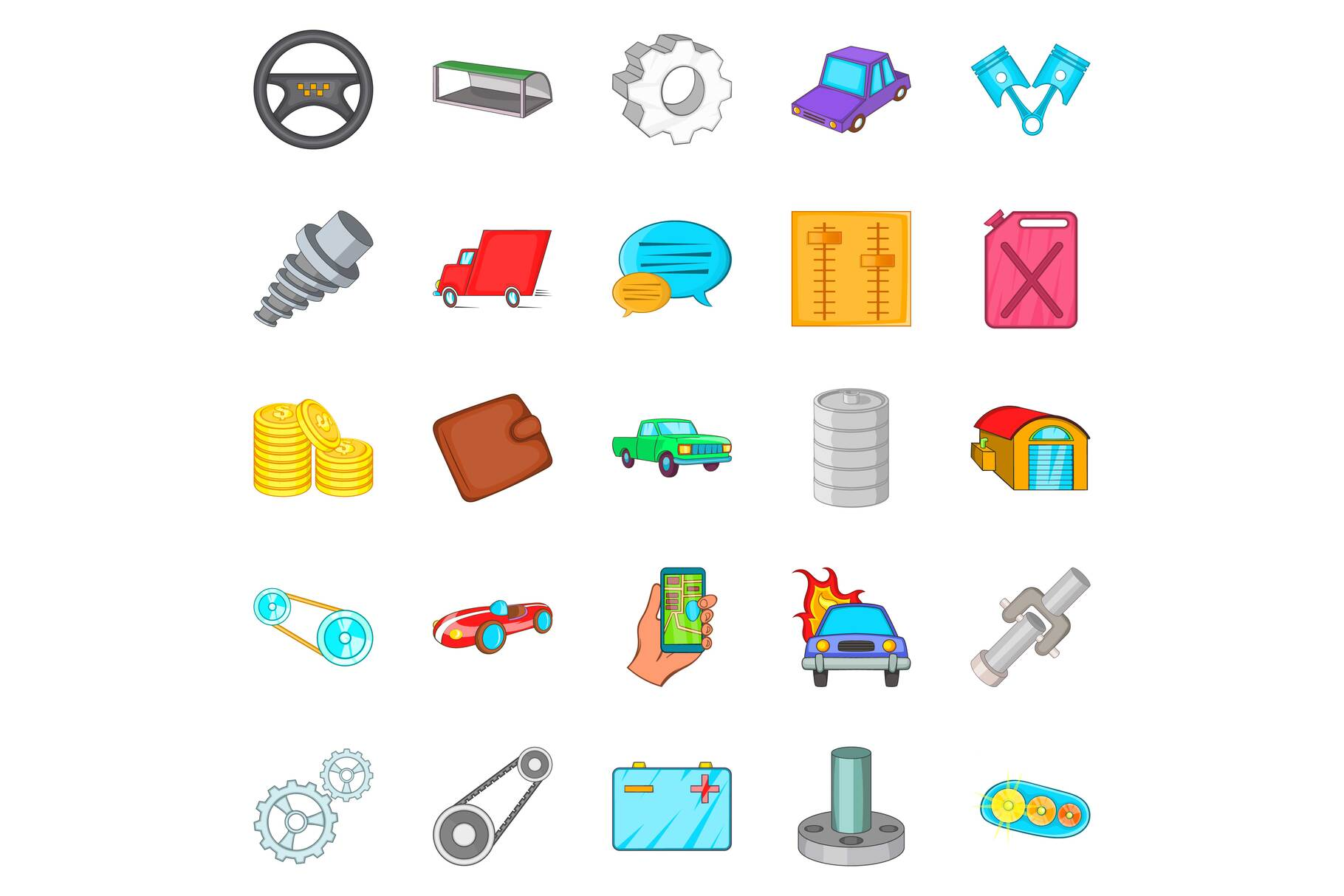 Car mending icons set, cartoon style example image 1