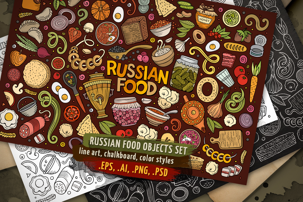 Russian Food Objects & Symbols Set example image 1