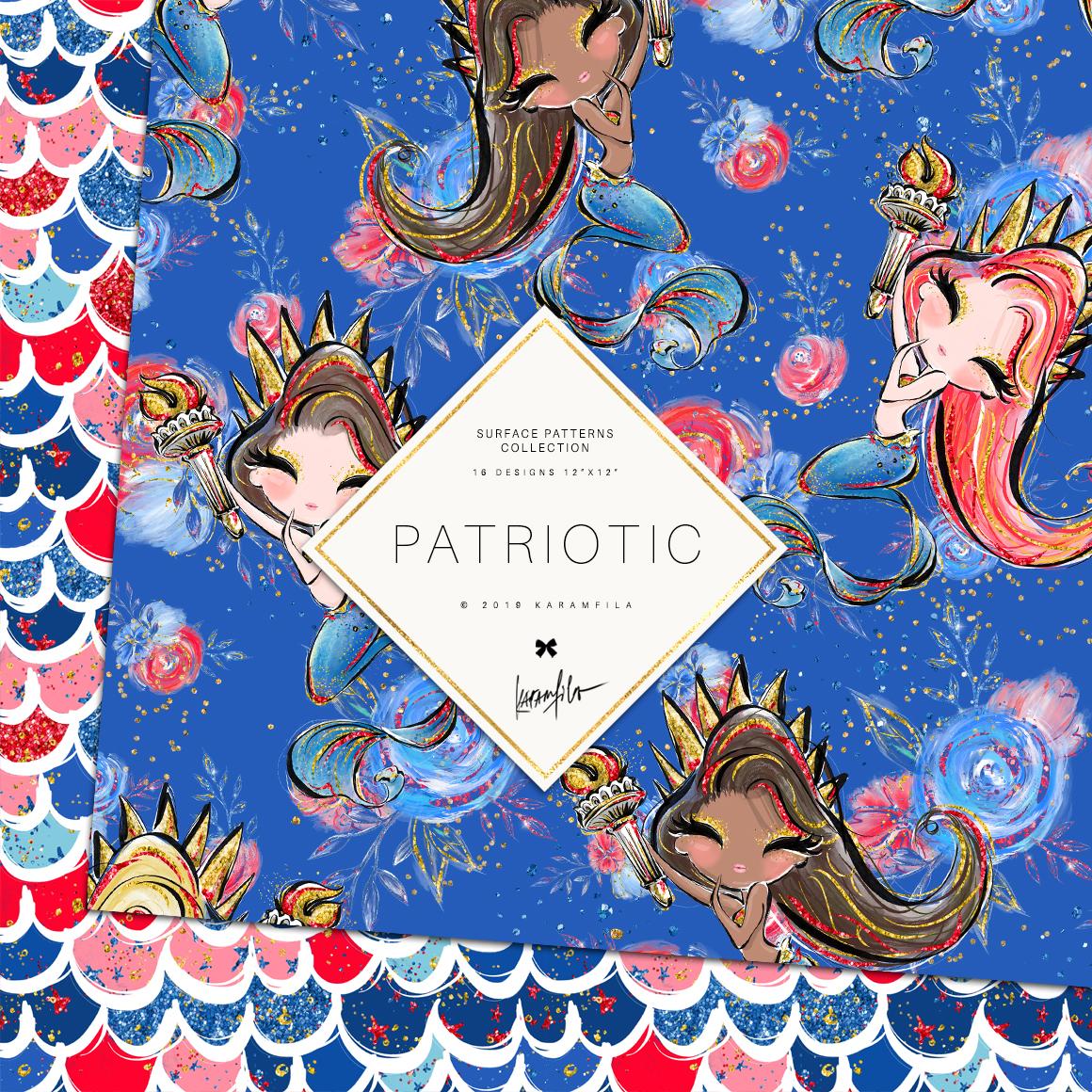 4th of July Mermaid Unicorn Patterns example image 2