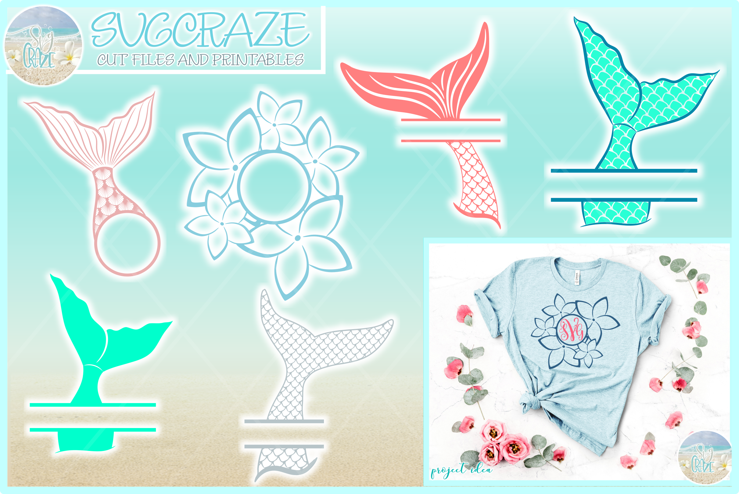 Mermaid Tail Monogram Svg Dxf Eps Png Pdf Files For Cricut example image 1