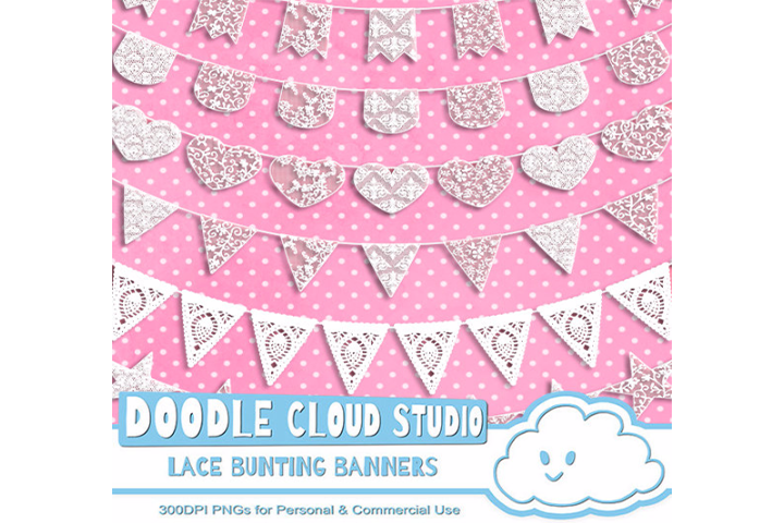 18 White Lace Burlap Bunting Banners Cliparts, multiple lace texture flags Transparent Background Instant Download Personal & Commercial Use example image 1