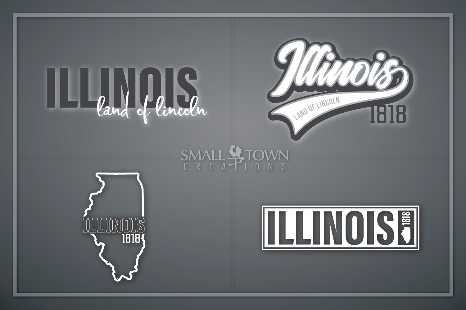 Illinois, Land of Lincoln-slogan, Logo, PRINT, CUT & DESIGN example image 1