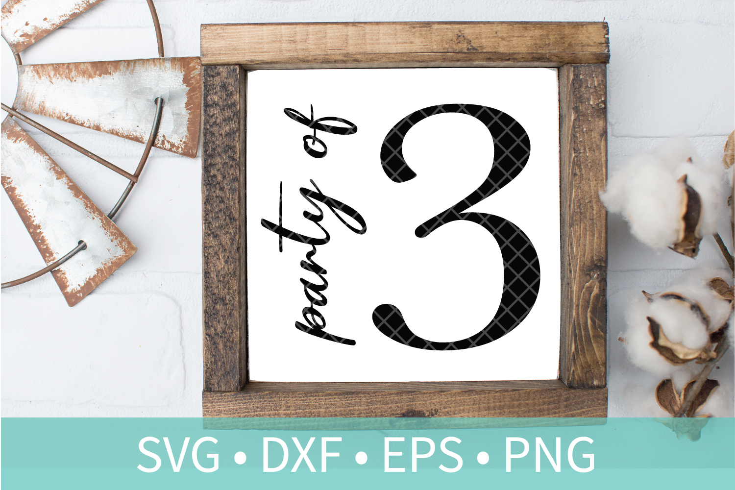 Party of 3 Family Sign SVG DXF EPS PNG Clipart Cut File example image 1