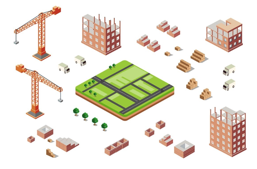 Industrial city building with construction cranes and buildi example image 3