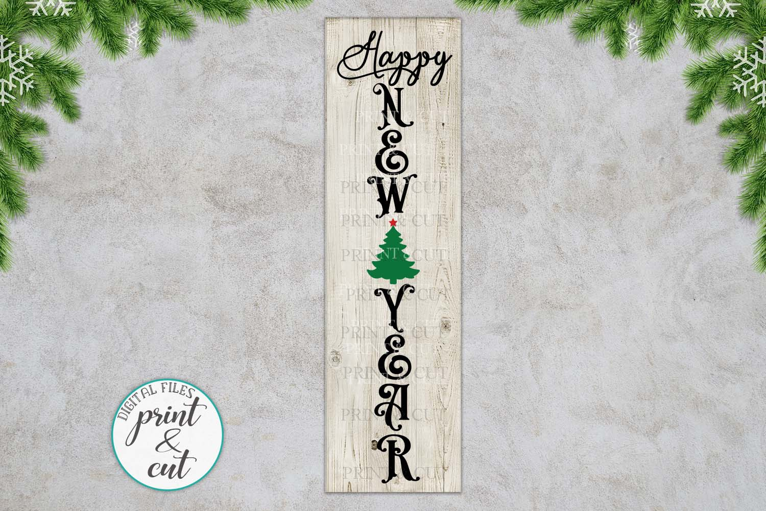Merry Christmas Happy New Year Believe bundle vertical sign example image 4