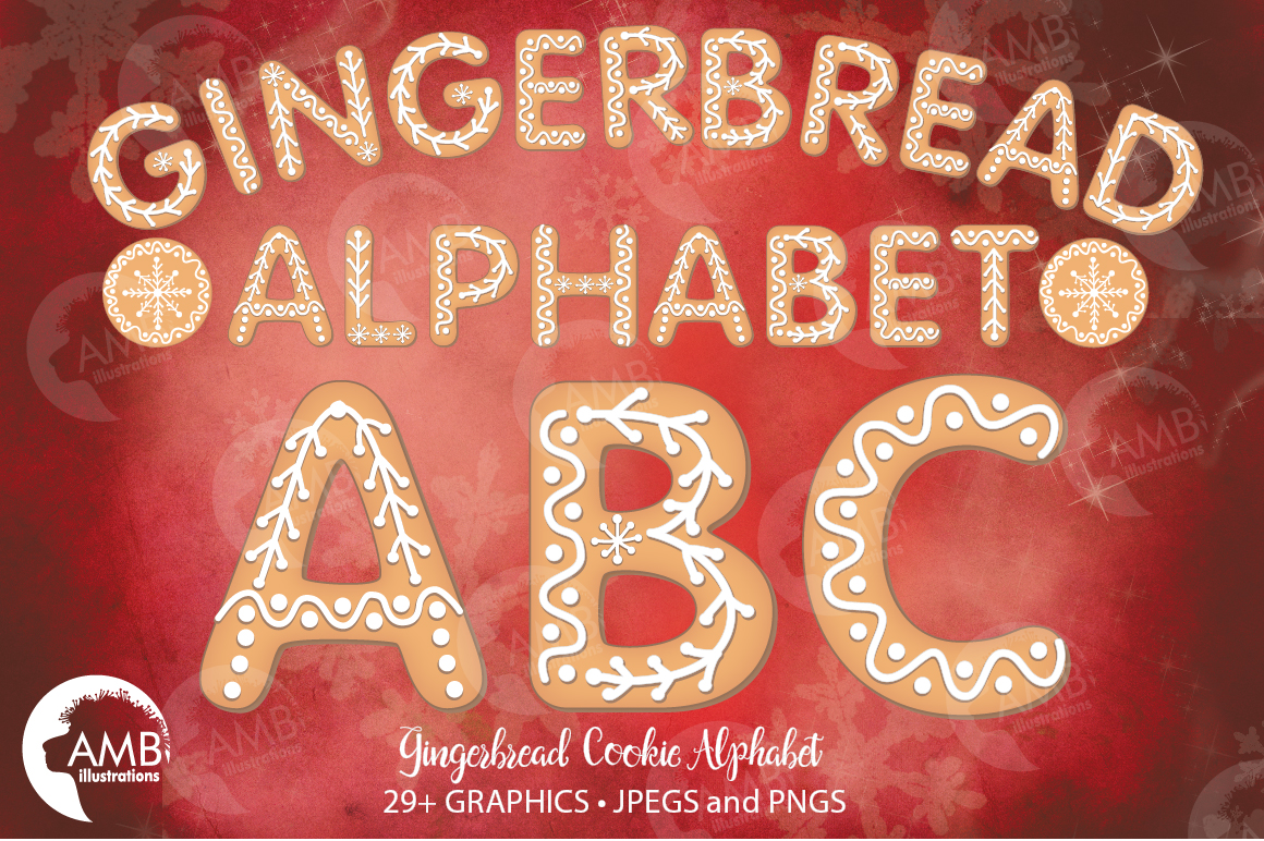 Christmas Cookie Alphabet Clipart, GRAPHICS, ILLUSTRATIONS AMB-1491 example image 1