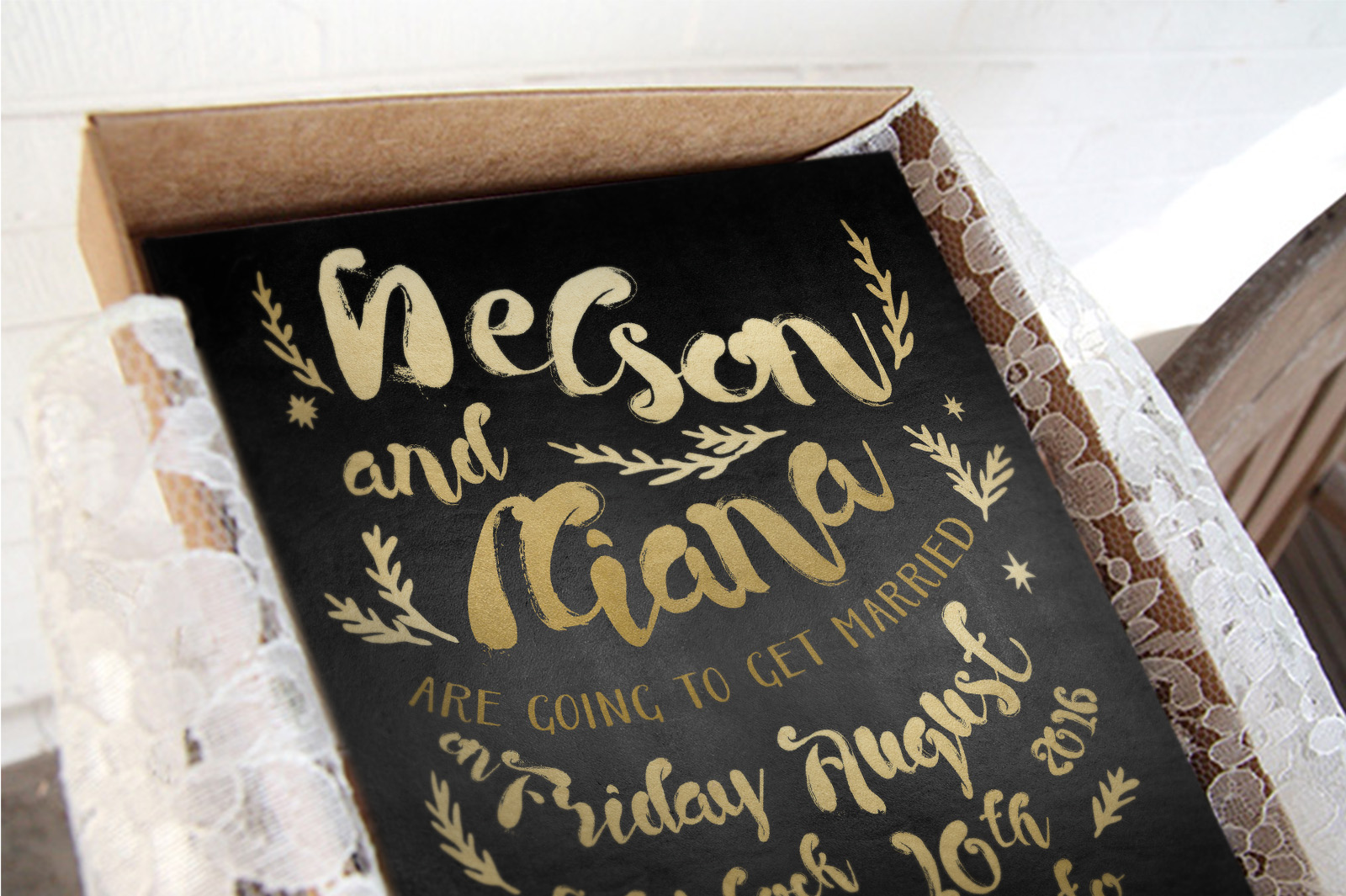 Black & Gold Hipster Wedding Invitation Suite example image 3