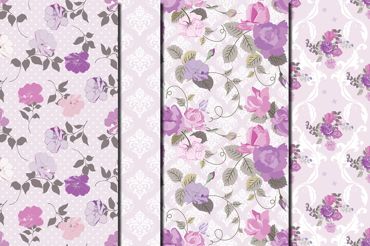Shabby chic violet roses seamless digital paper pack example image 3