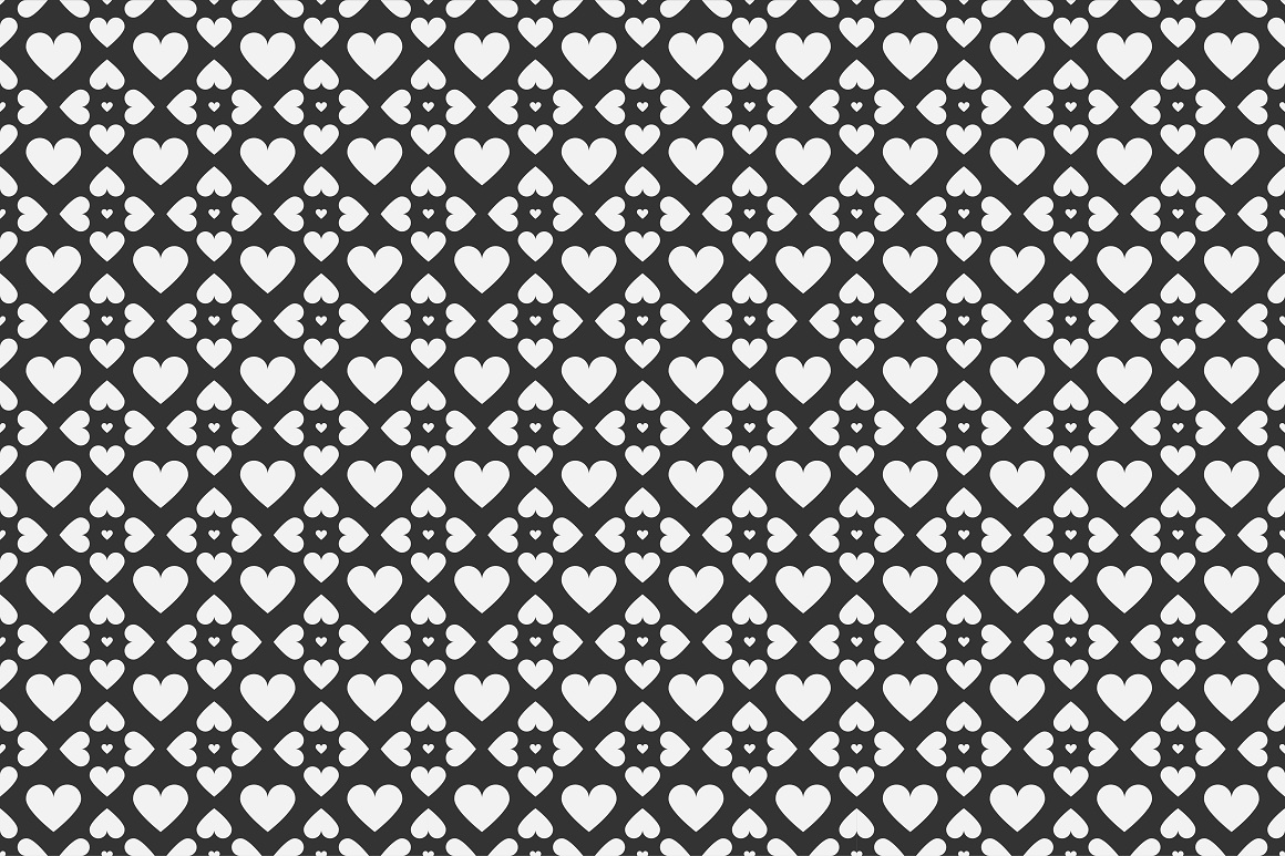 Set of seamless patterns with hearts example image 6