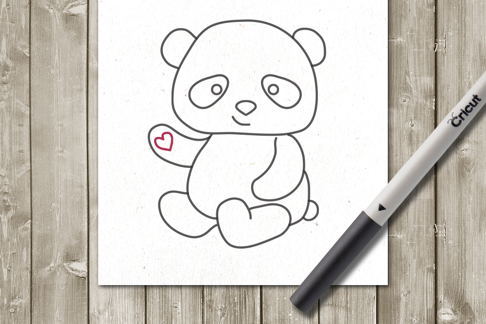 Panda SKETCH Single Line Drawing Pen & Foil Quill SVG example image 1