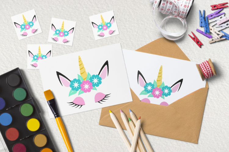 Unicorn head svg. Cute unicorn clipart example image 6
