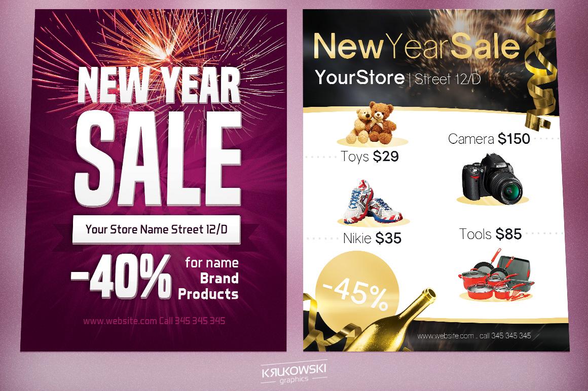 New Year Sale Flyers Bundle example image 2
