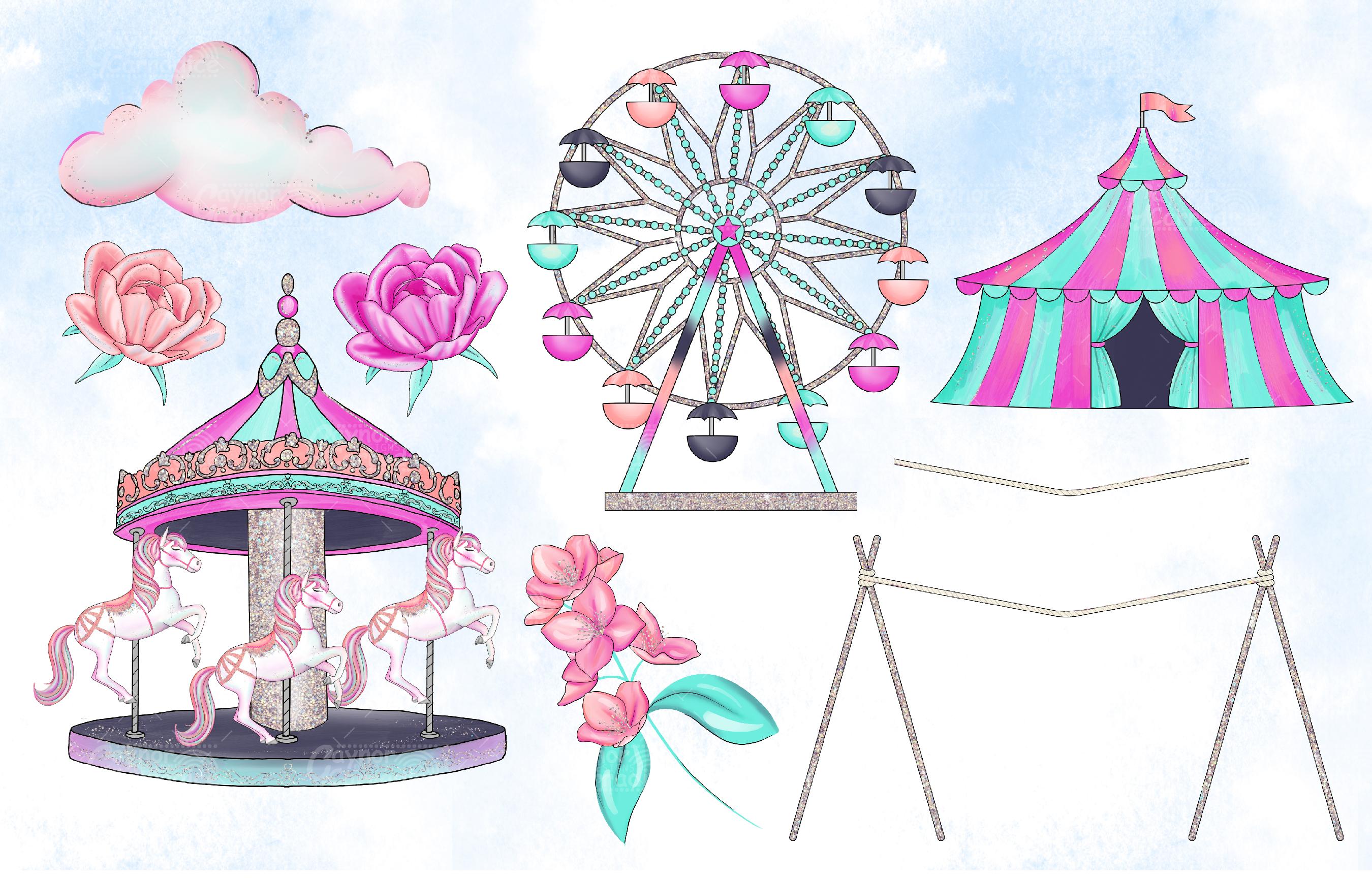Cirque - watercolor circus Clipart collection example image 4
