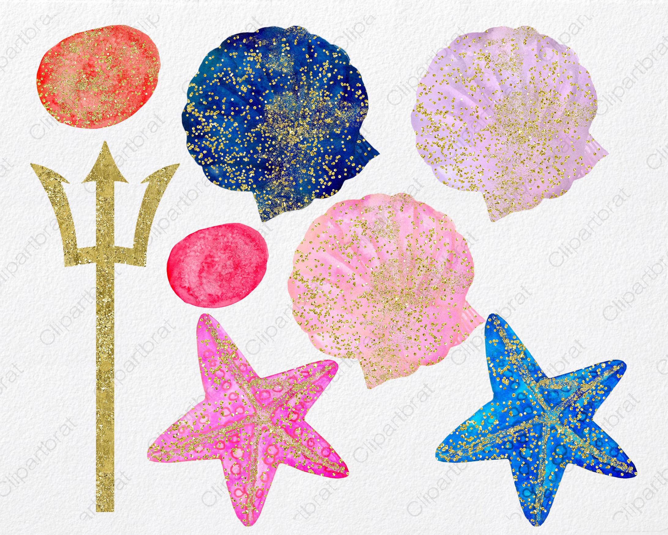 WATERCOLOR MERMAID Clipart  with Metallic Gold Confetti Mermaids Shells Starfish Ocean Watercolour Splash Graphics example image 4