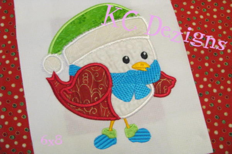 Christmas Bird 01 Machine Applique Embroidery Design example image 2
