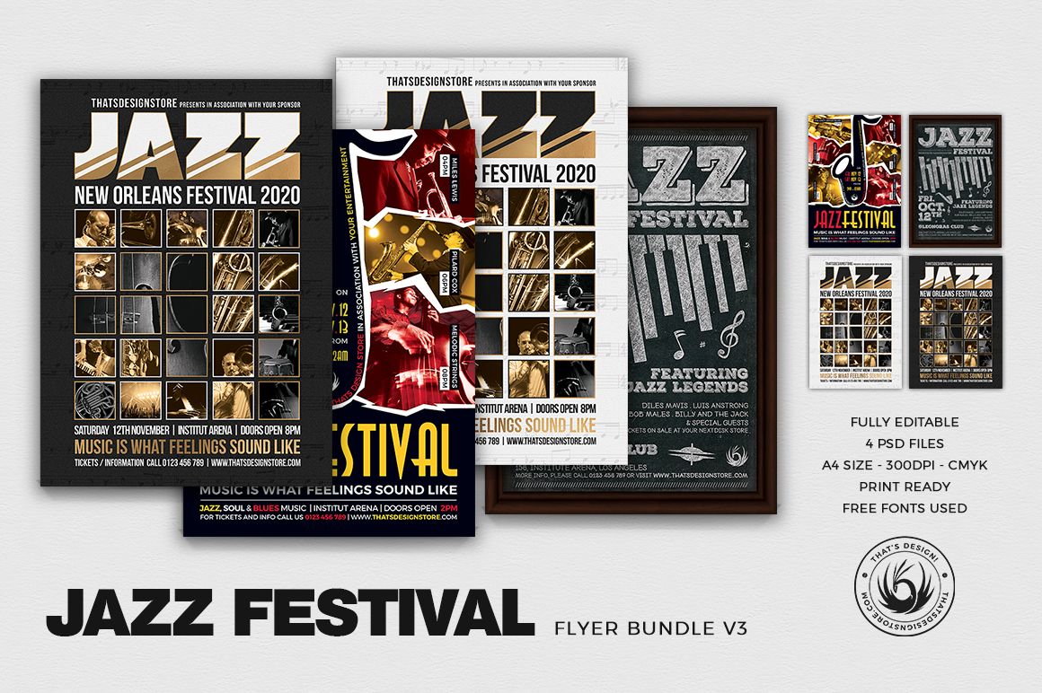Jazz Festival Flyer Bundle V3 example image 1