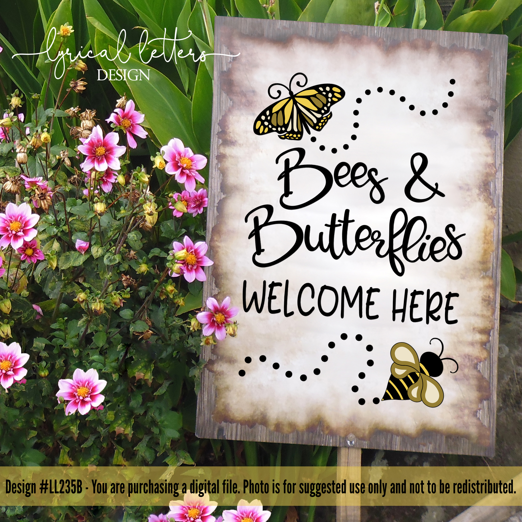 Bees and Butterflies Welcome Here Spring SVG DXF FCM LL235B example image 2