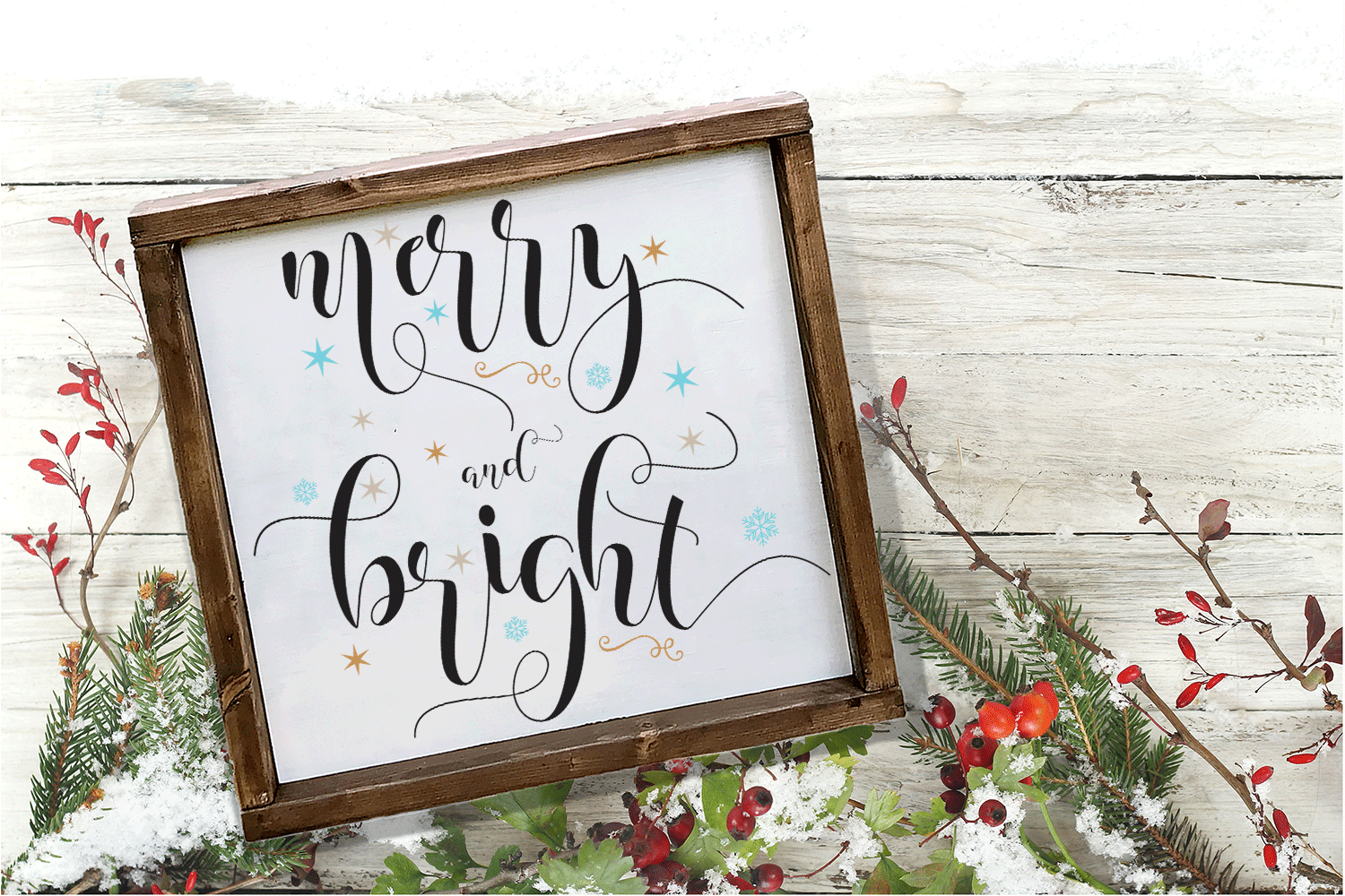 Merry and Bright SVG - Christmas Cut File example image 2