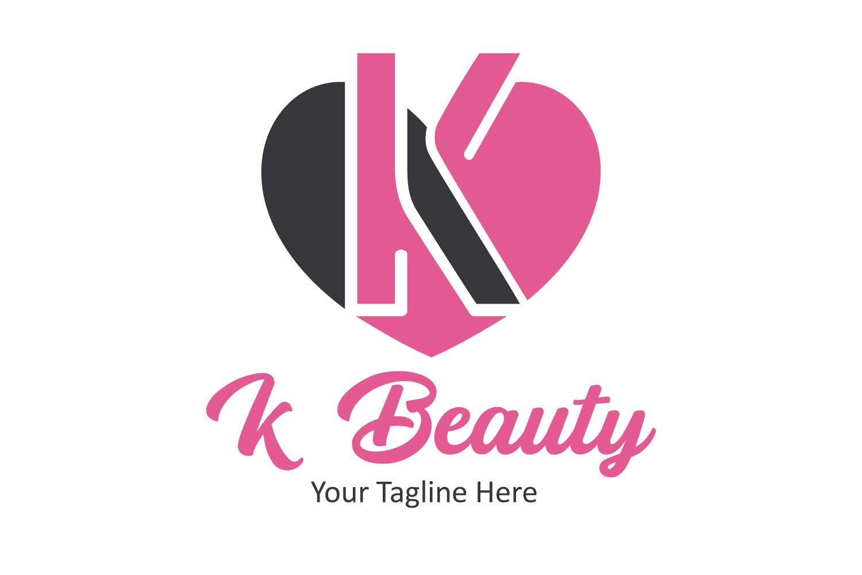 K letter heart logo example image 1