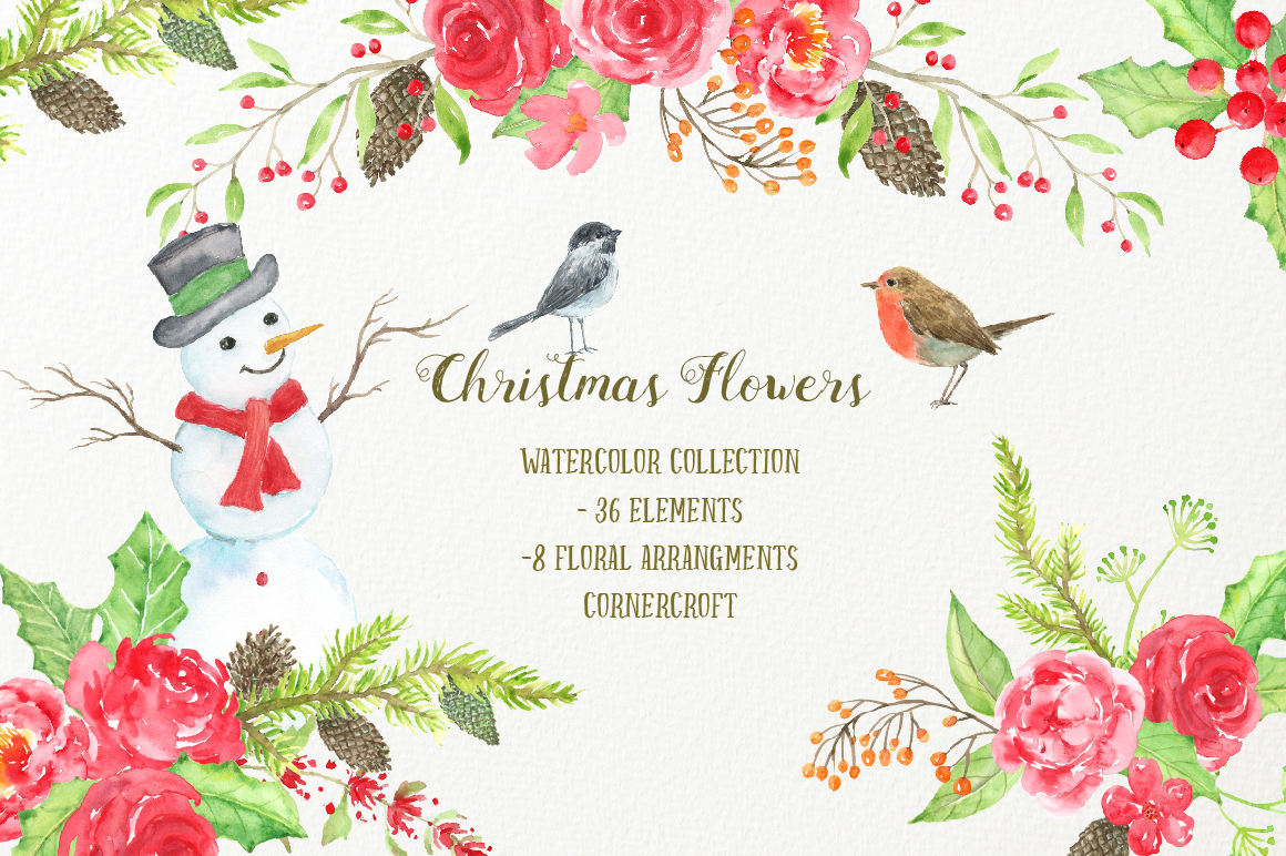 Watercolor Clipart Christmas Flowers example image 1