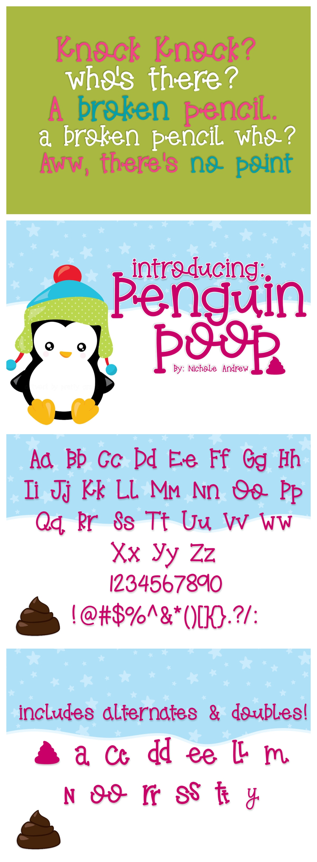 Penguin Poop, A fun Handwritten font example image 6