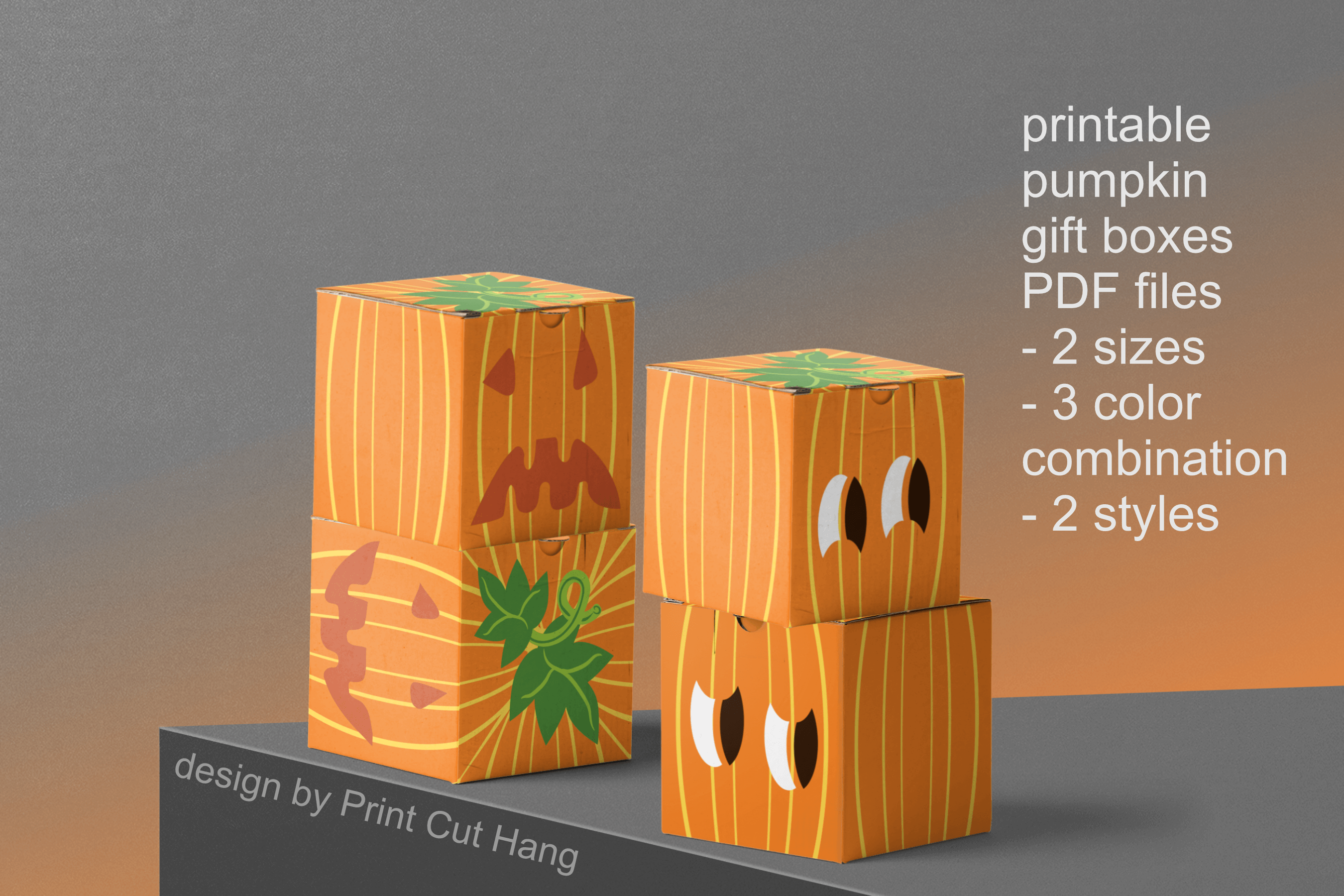 Pumpkins Treat Boxes Templates PDF files - 2 size - 2 style example image 3