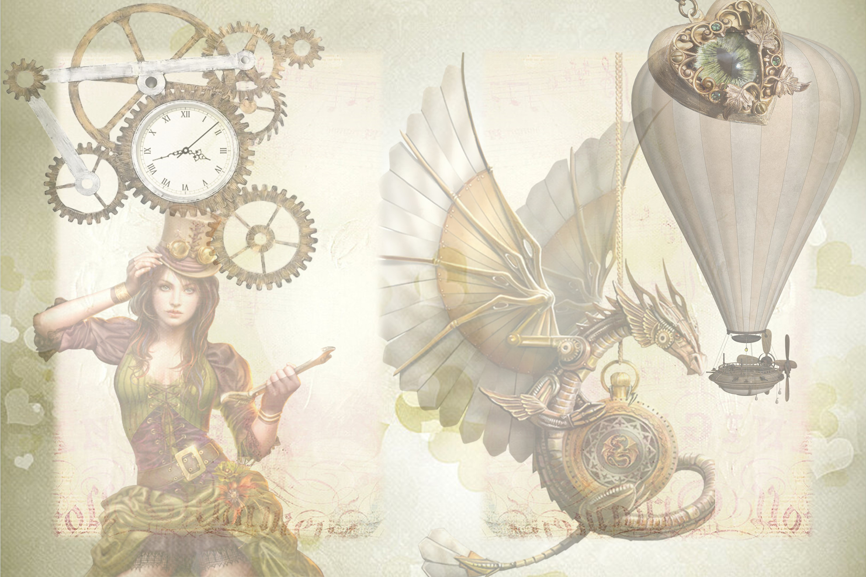 SteamPunk Collage Sheets 8.5 x 11 inches. JPEG and PDF example image 2