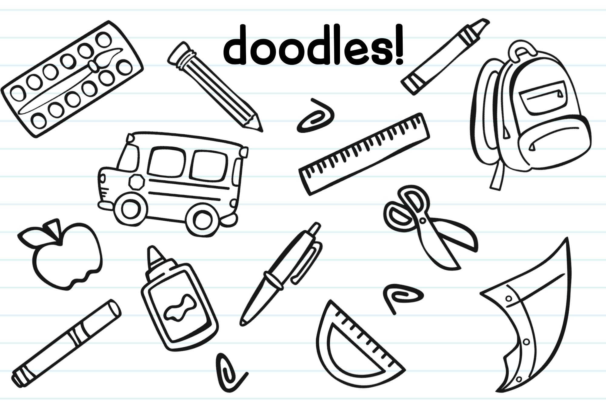 Schoolish Monogram Maker| Back to school font|Free Doodles example image 3