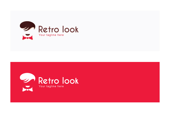 Retro Look - Mens Saloon Stock Logo Template example image 2