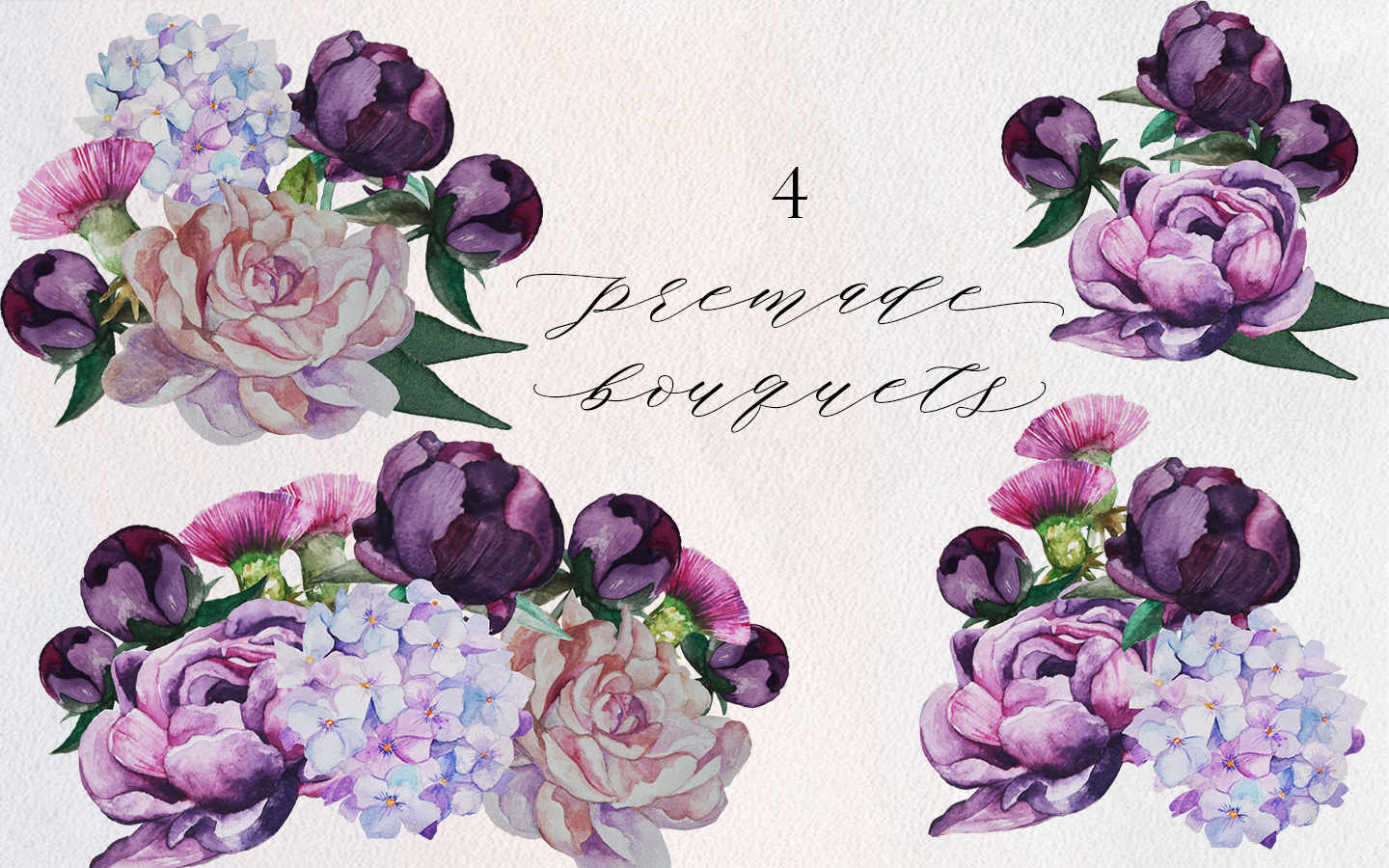 Romantic Peonies Hand Painted Clip Art Set example image 2