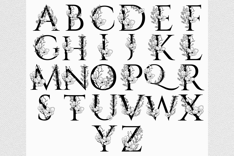 Vector Hand Drawn Floral Alphabet Monograms or Logos. example image 1