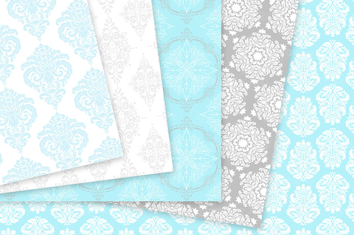 Blue and Grey Damask Patterns - Seamless Digital Papers example image 9