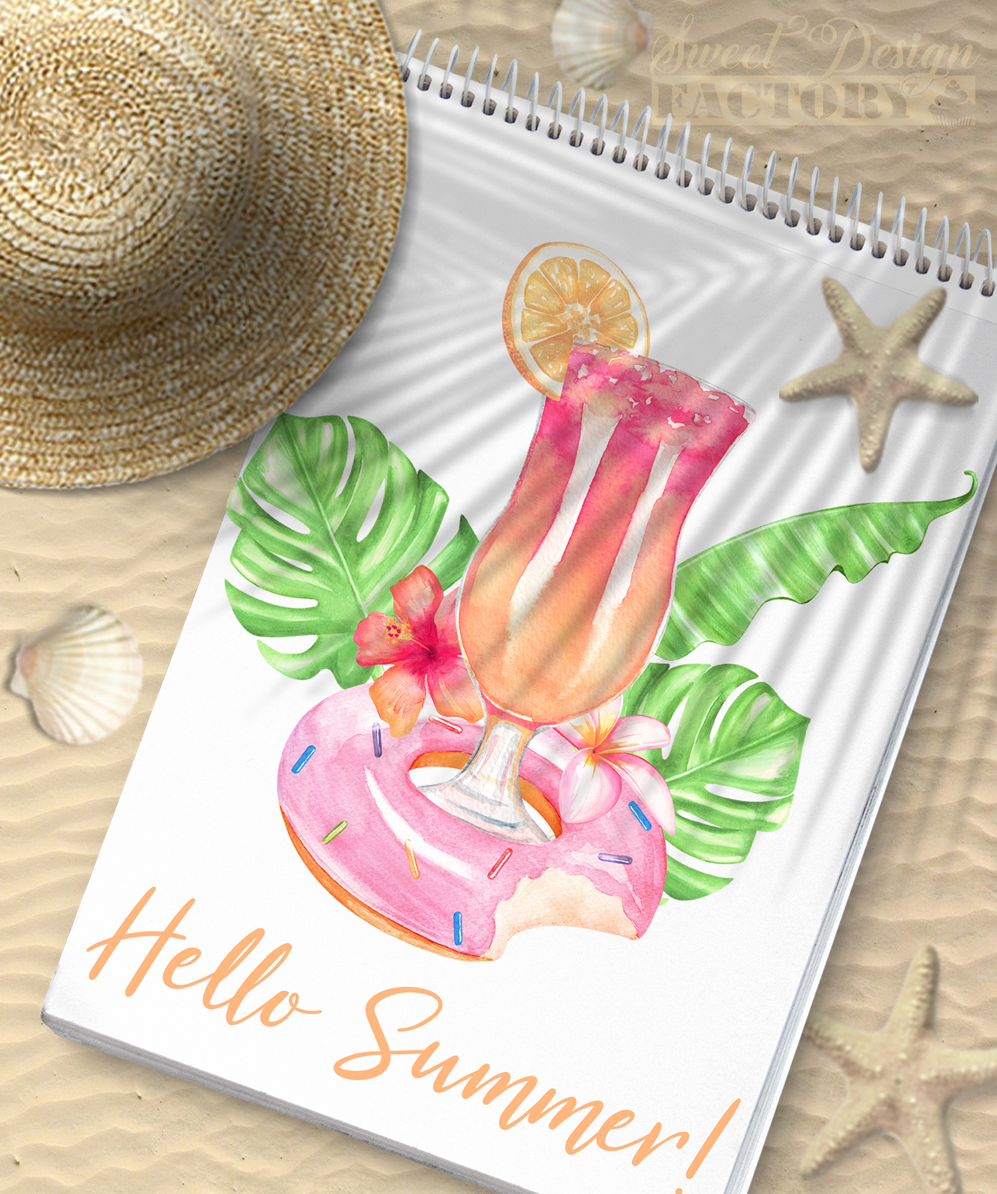 Watercolor flamingos and retro cars summer clipartS example image 6