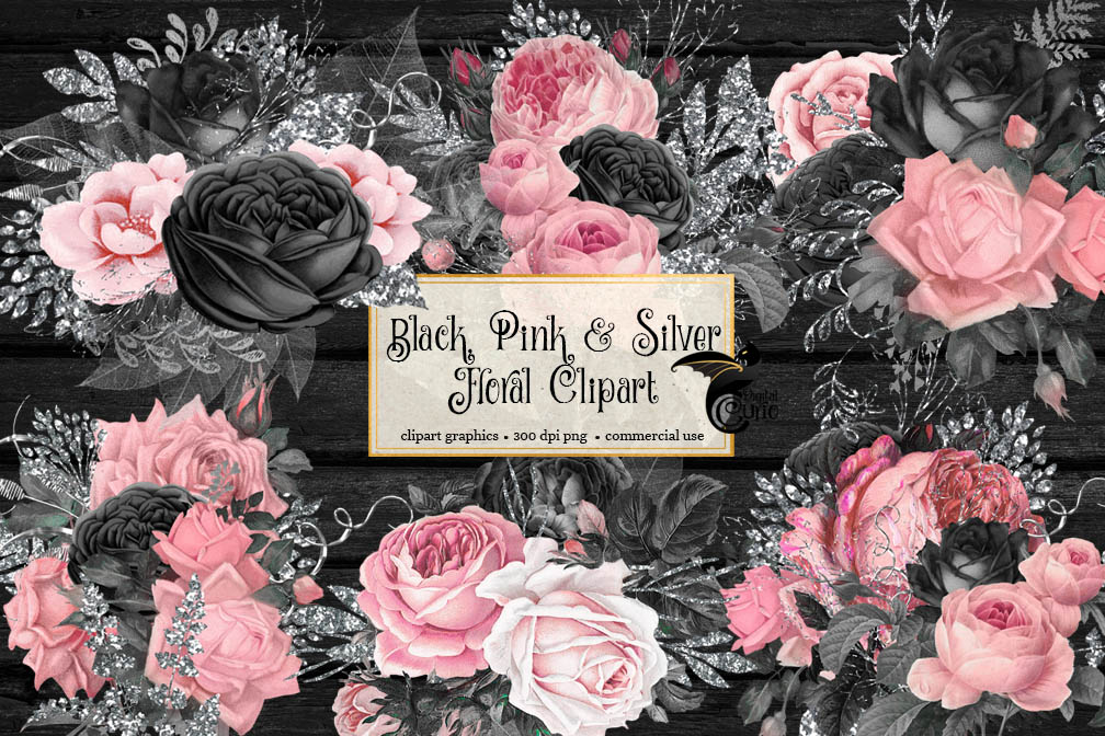 Black Pink and Silver Floral Clipart example image 2