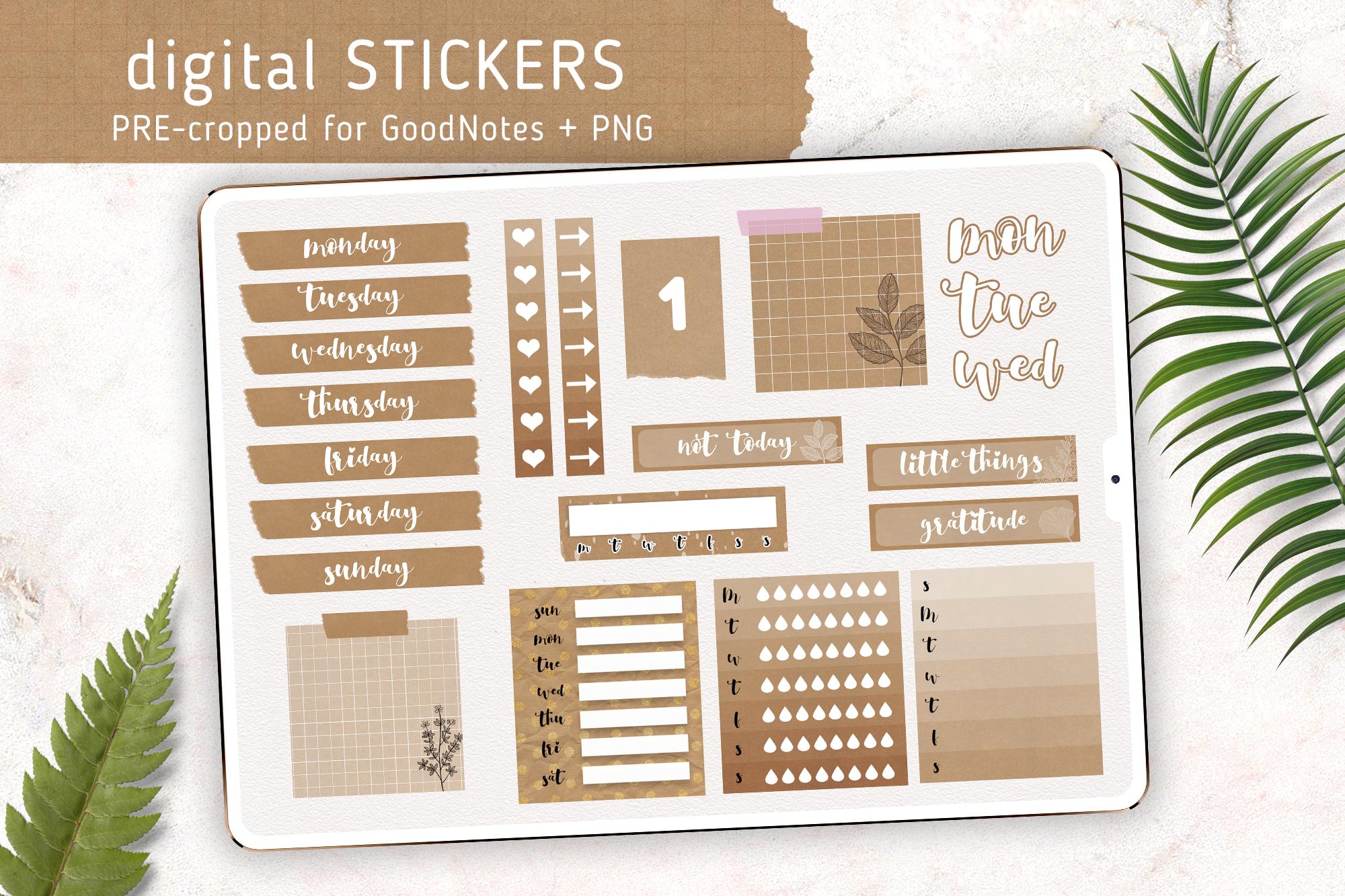 Digital Weekly Sticker Kit | Basic Kraft Style example image 1