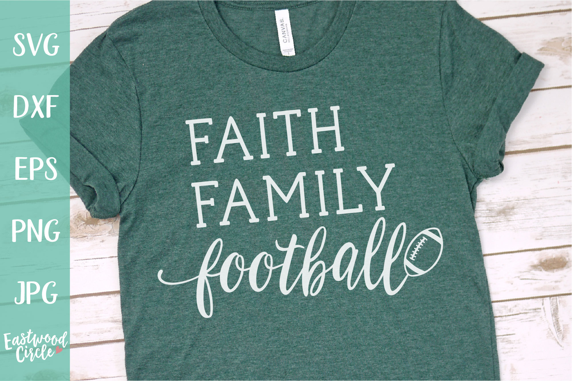 Faith Family Football - Football SVG File for Crafters example image 1