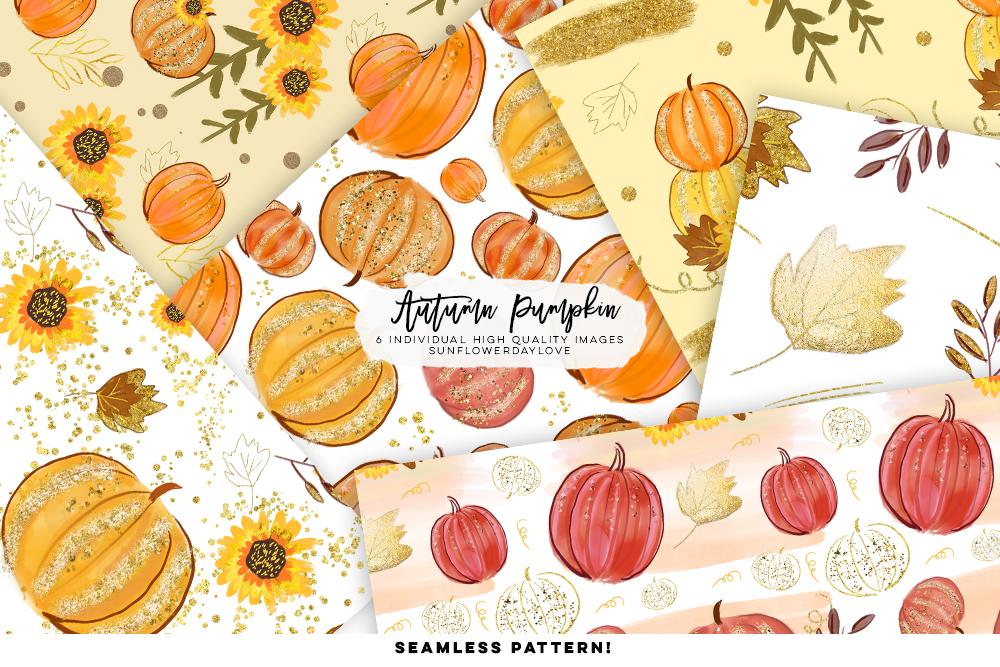 pumpkin pattern digital paper, autumn leaves digital paper example image 2