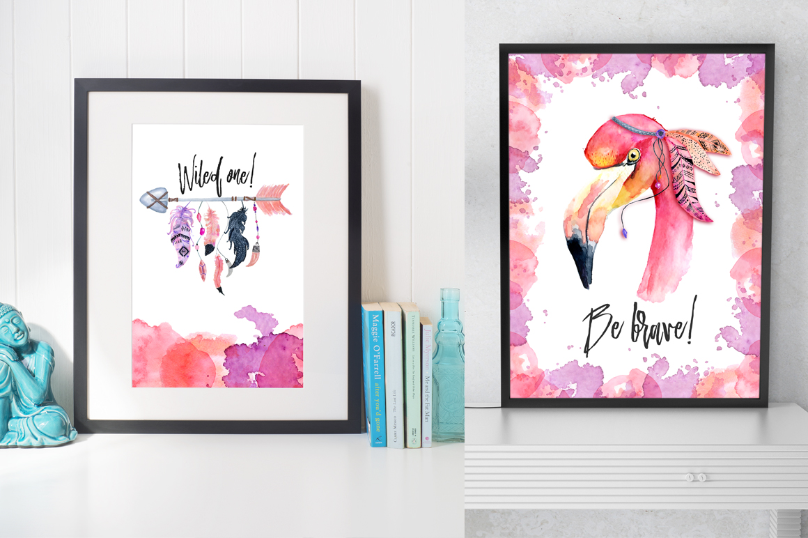 Boho flamingo Watercolor set example image 9