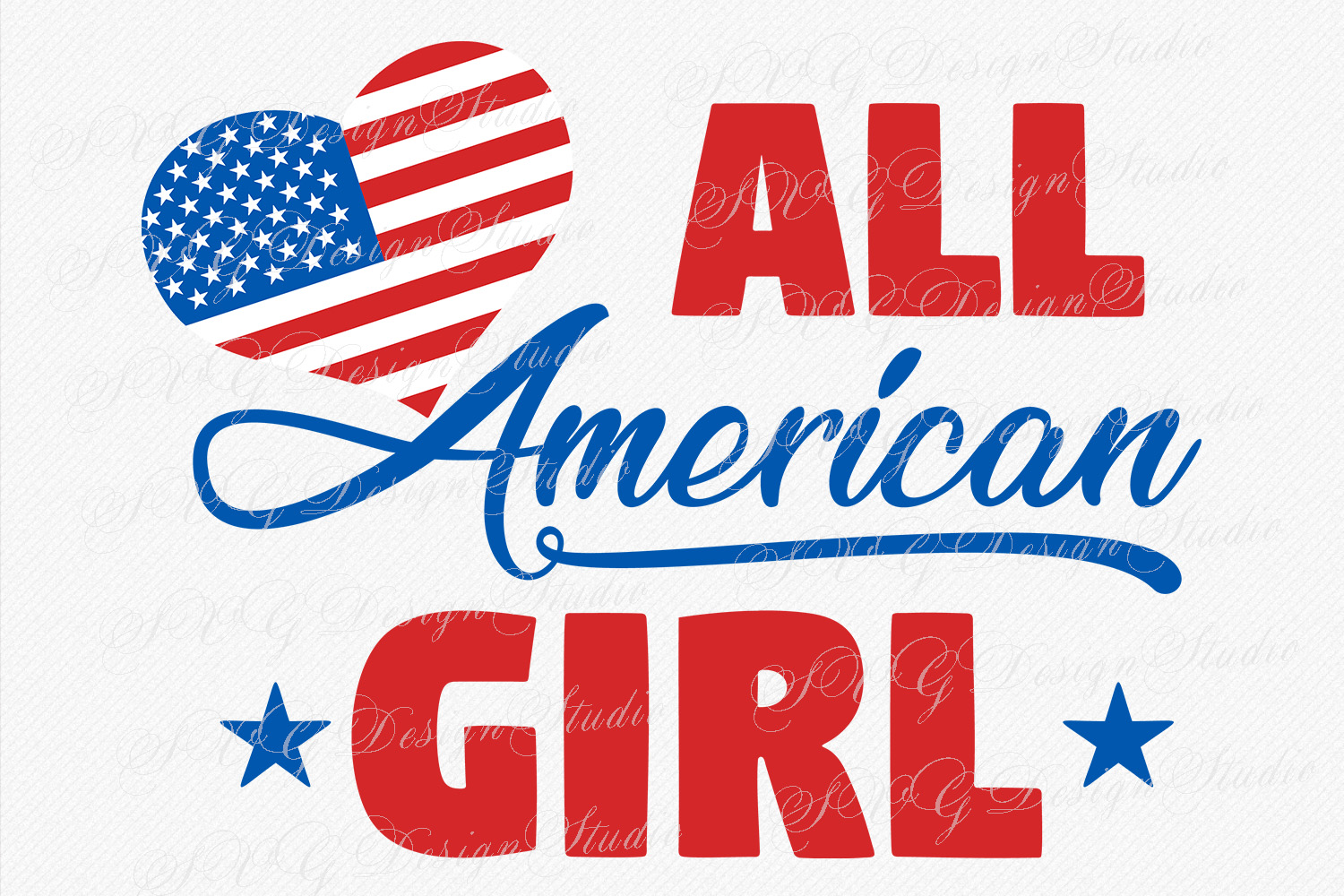 All American Girl, America love flag, America svg, Fourth of July svg, 4th of July Patriotic SVG, T-Shirt Designs example image 1