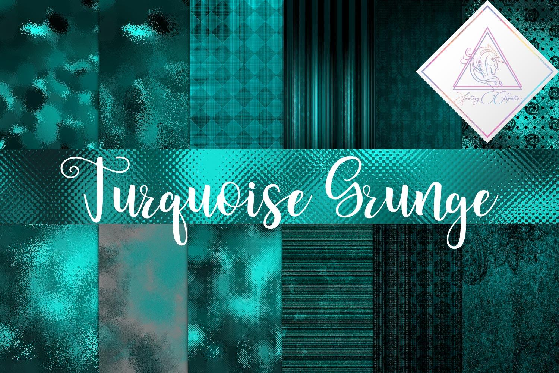 Grunge Turquoise Digital Paper example image 1